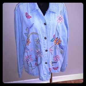 Cato Embroidered Jean Jacket Size XL